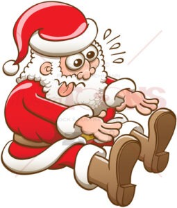 Santa Claus stretching to touch his boots with his fingers - illustratoons