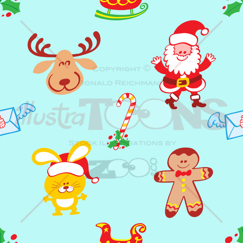 Characters pattern, Santa, reindeer, bunny and cookie man - illustratoons