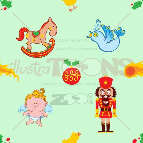 Horse, bird, angel and nutcracker Christmas pattern - illustratoons