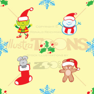 Teddy, mouse, elf and snowman Xmas pattern - illustratoons