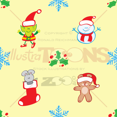 Teddy Mouse Elf And Snowman Xmas Pattern Illustratoons Delectable Elf Pattern