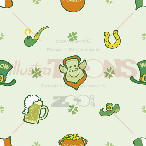 Joyous Saint Paddy's Day pattern, seamless and colorful - illustratoons