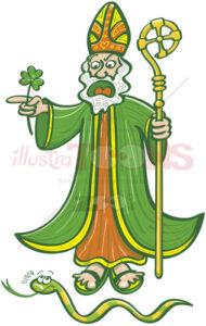 Saint Patrick chasing last Irish snake - illustratoons