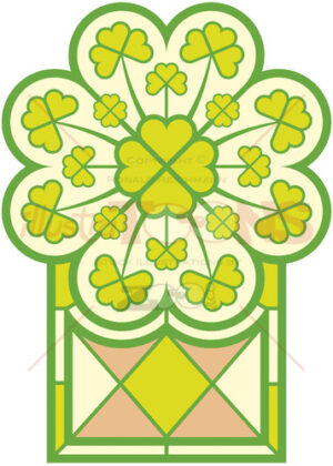 Saint Patrick' Day stained glass window full of clovers - illustratoons