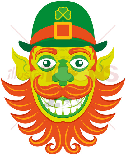 Saint Patrick's Day Leprechaun hipster with groomed beard - illustratoons