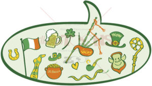 Speech balloon full of Saint Patrick's Day symbols - illustratoons
