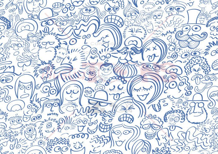 Pattern composed of a crowd of people in blue - illustratoons