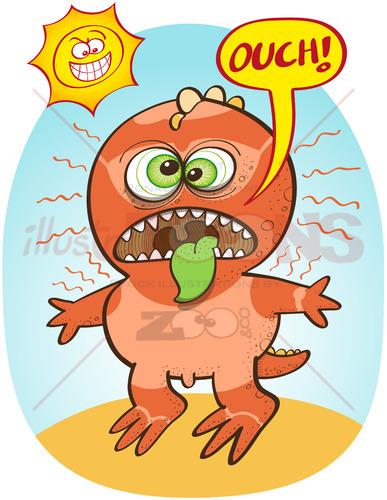Funny dinosaur suffering from bad summer sunburn - illustratoons