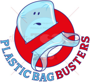 Plastic bag busters, stop plastic pollution - illustratoons