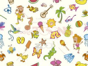 Colorful holidays, seamless summer pattern - illustratoons