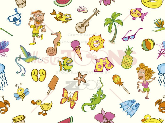 Colorful holidays, seamless summer pattern - illustratoons