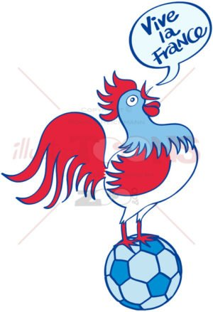 French rooster crowing on top of a soccer ball - illustratoons