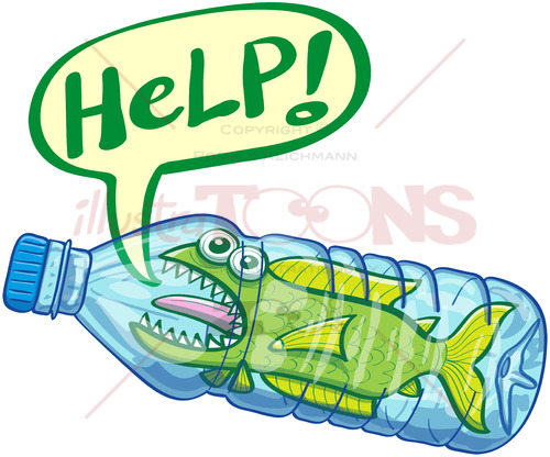 Scared fish inside a plastic bottle crying for help - illustratoons