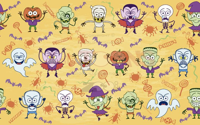 Bunch of scary but funny characters in a Halloween pattern - illustratoons