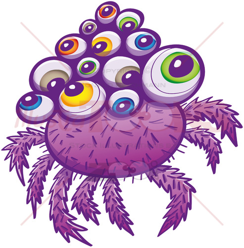Terrific spider with multiple eyes and hairy legs - illustratoons