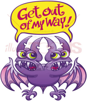 Two-headed bat asking each other to get out of the way - illustratoons