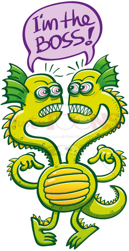 Two-headed monster struggling to decide who the boss is - illustratoons