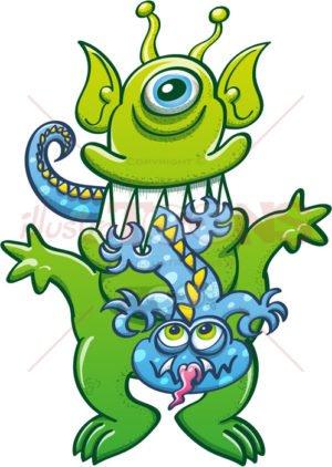 Big green alien monster eat little blue monster - illustratoons