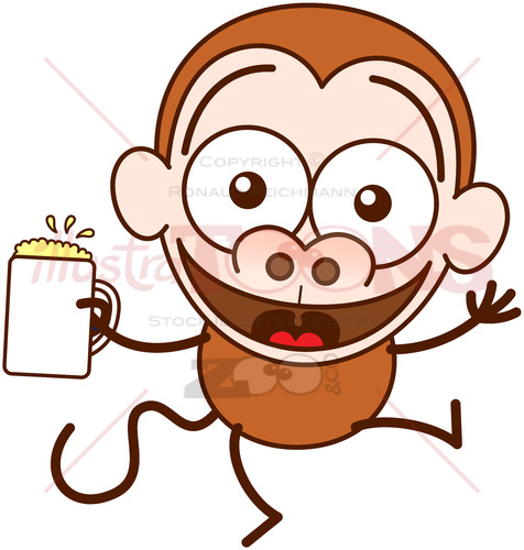 Cool monkey celebrating the joy of life with beer - illustratoons