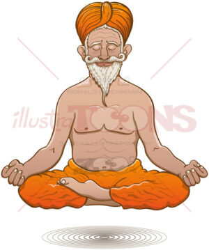 Indian guru floating while meditating in half lotus pose - illustratoons