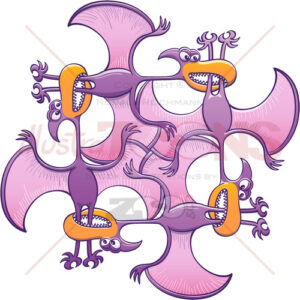 Voracious pterodactyls bitting each other's legs - illustratoons