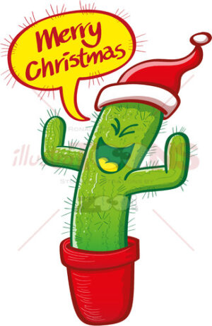 Christmas cactus wearing Santa hat and celebrating - illustratoons