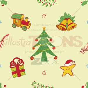 Christmas symbols pattern, tree, train, bells, gift and star - illustratoons