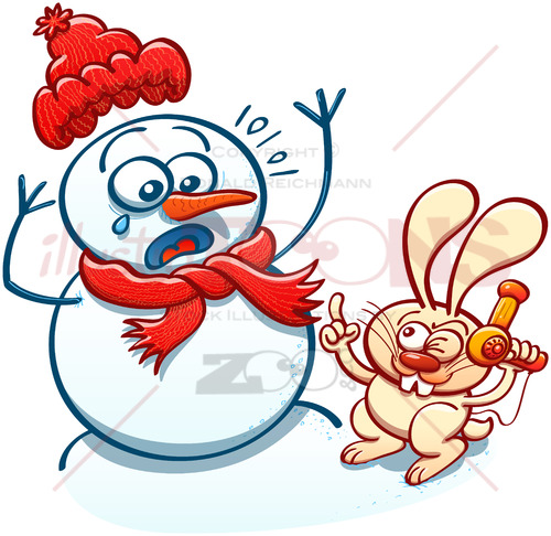 Mischievous bunny menacing a snowman with a hair dryer - illustratoons