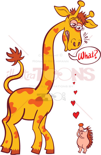 Bold hedgehog making a declaration of love to a tall giraffe - illustratoons