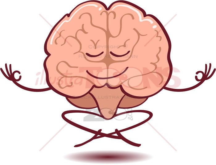 Brain meditating, floating and half-smiling - illustratoons