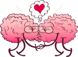 Couple of kissing brains falling in love - illustratoons