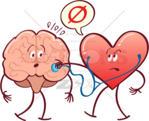 Heart checking brain with a stethoscope - illustratoons