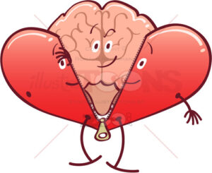 Mischievous brain getting rid of a heart costume - illustratoons