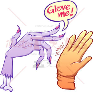 Monstrous scary hand asking for glove - illustratoons