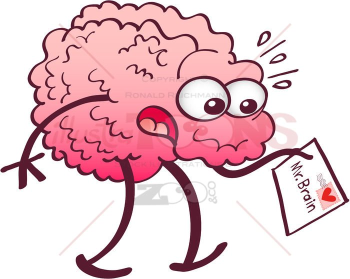 Surprised brain receiving a letter from heart - illustratoons