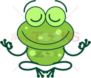 Cool green frog meditating in lotus pose - illustratoons
