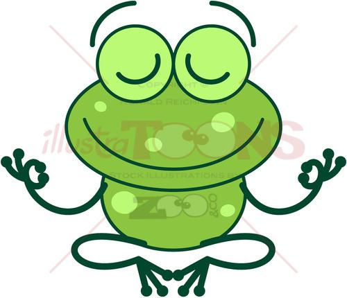 Cool green frog meditating in lotus pose - illustratoons
