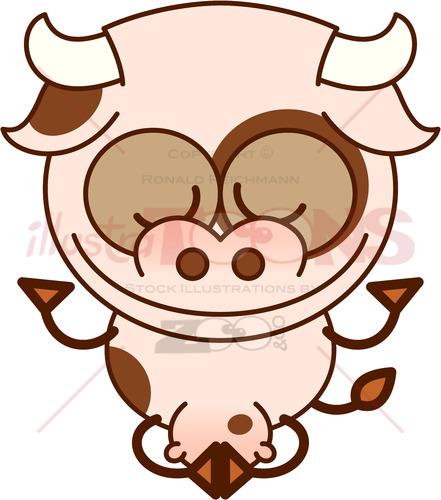 Cow meditating in lotus pose and joyful mood - illustratoons