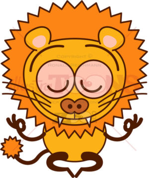 Enthusiastic lion meditating in happy mood - illustratoons
