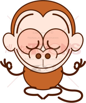 Nice monkey meditating in surprising calm way - illustratoons