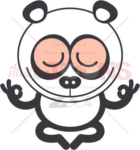 Nice panda bear meditating in lotus pose - illustratoons