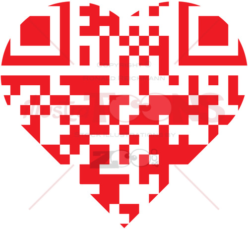 Scan this red QR code inside a cartoon heart - illustratoons