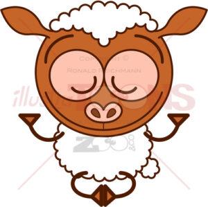 Sweet sheep meditating in Zen mood - illustratoons