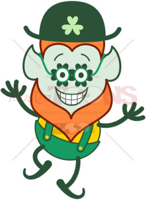 Cool St Paddy's Day Leprechaun wearing clover glasses - illustratoons