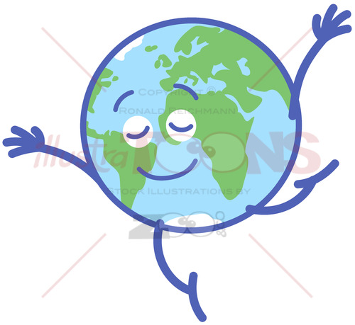 Cute Earth graciously performing a dance step - illustratoons