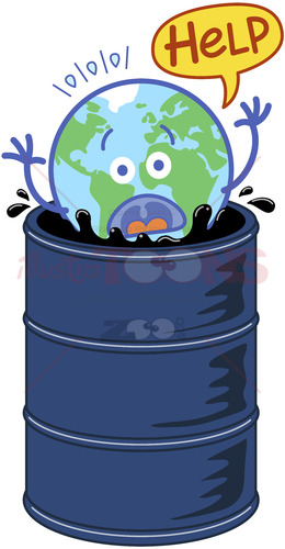 Earth in trouble drowning in an oil barrel - illustratoons