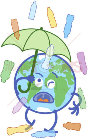 Earth protecting from plastic bottles rain with an umbrella - illustratoons