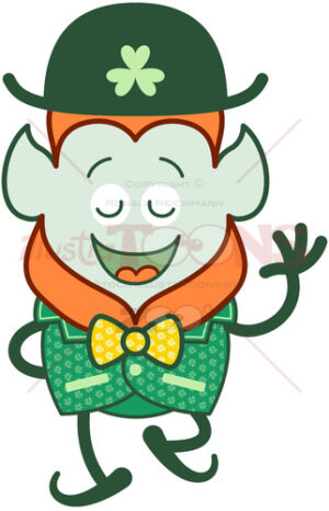 Elegant Leprechaun wearing a costume for St Paddy's Day - illustratoons