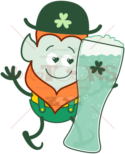 Leprechaun in love with St Patrick's Day beer - illustratoons