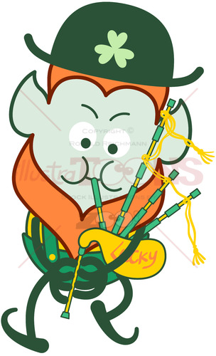 Leprechaun playing bagpipe to celebrate St Paddy's Day - illustratoons